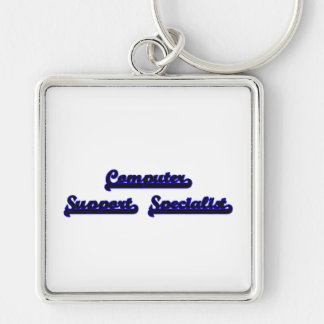 Computer Support Specialist Classic Job Design Silver-Colored Square Key Ring