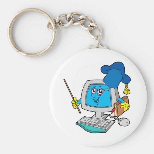 Computer teacher basic round button key ring