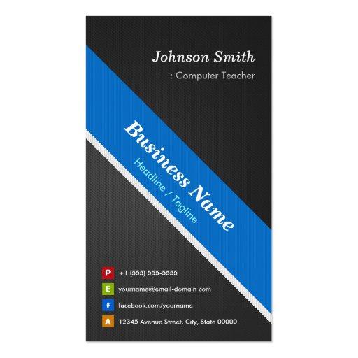 Computer teacher premium double sided business card for Double sided business cards template
