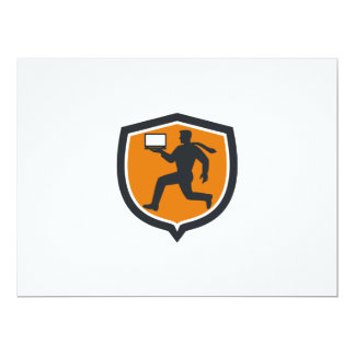 Computer Technician Carrying Laptop Running Shield 17 Cm X 22 Cm Invitation Card