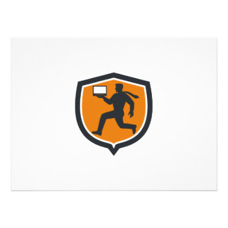 Computer Technician Carrying Laptop Running Shield Personalised Invitations