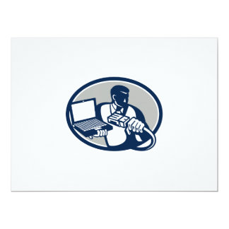 Computer Technician Holding Laptop Cable Retro.png Personalized Invitations