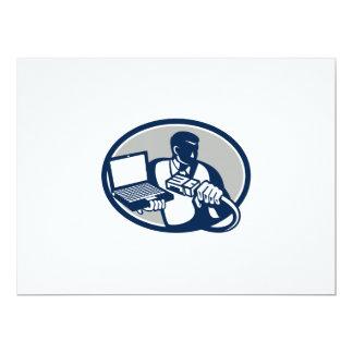 Computer Technician Holding Laptop Cable Retro.png 17 Cm X 22 Cm Invitation Card