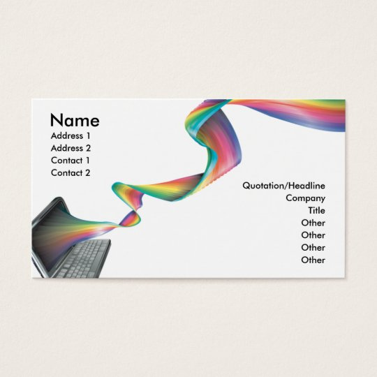 computer technology rainbow business card
