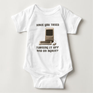 Computer turning it off and one again baby bodysuit