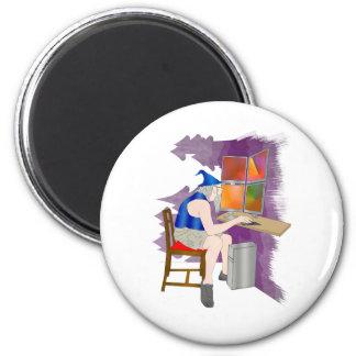 computer wizard 6 cm round magnet