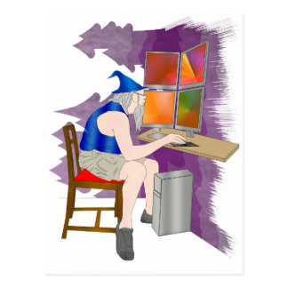 computer wizard post cards