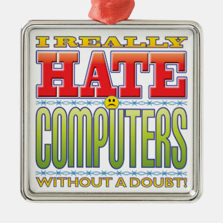 Computers Hate Face Christmas Tree Ornament