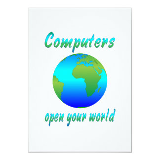 Computers Open Worlds 13 Cm X 18 Cm Invitation Card