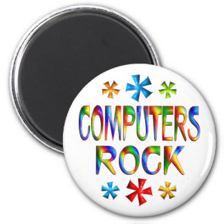 COMPUTERS ROCK 6 CM ROUND MAGNET