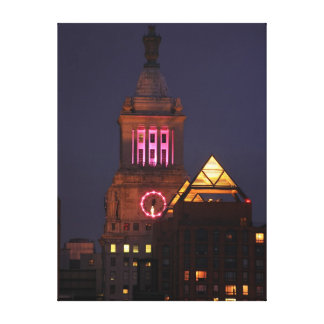 Con Edison Clock Tower lit up in Pink at Twilight Canvas Print