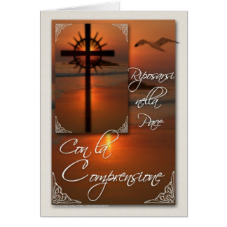 Con la Comprensione Italian Sympathy Card Cross