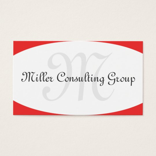Concave Monogram Red Business Cards