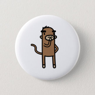 Concentrating Monkey 6 Cm Round Badge