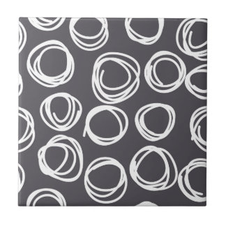 Concentric Abstract Circles Small Square Tile