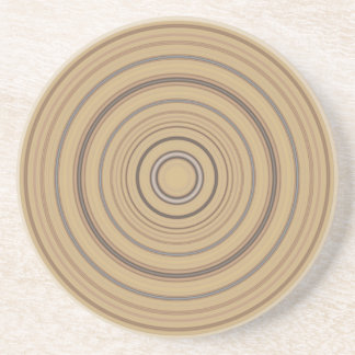 Concentric Beige & Brown Circles Sandstone Coaster