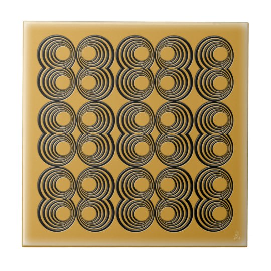 Concentric Black Circles over Harvest Gold Tile