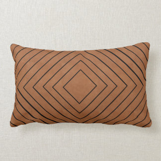 Concentric Black Squares on Tan Leather Look Lumbar Pillow