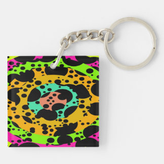 Concentric circles Double-Sided square acrylic key ring