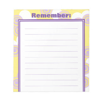 Concentric Dots Yellow Customizable Lined Notepad