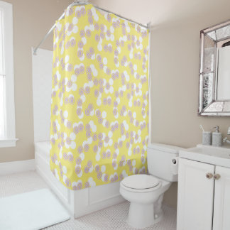 Concentric Dots Yellow Shower Curtain