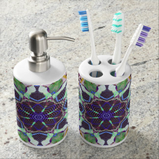 Concentric Lines of Color Soap Dispenser And Toothbrush Holder