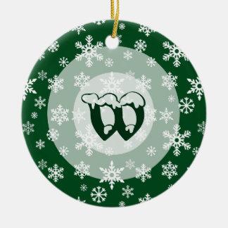 Concentric Snowdrift with custom monogram Christmas Ornament