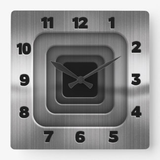 Concentric Steel Squares Square Wall Clock