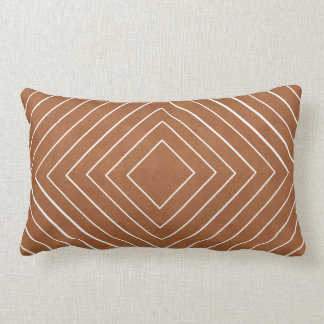 Concentric White Squares on Tan Leather Look Lumbar Cushion