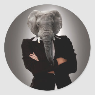 Concept image of a businesswoman. classic round sticker
