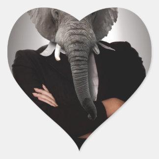Concept image of a businesswoman. heart sticker