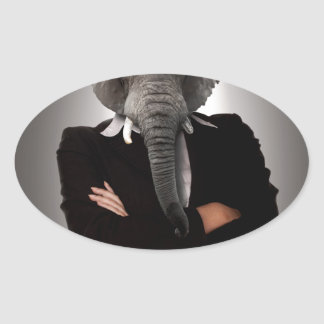 Concept image of a businesswoman. oval sticker