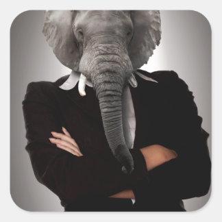 Concept image of a businesswoman. square sticker