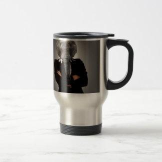 Concept image of a businesswoman. travel mug