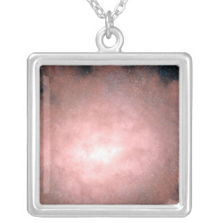 Concept of what a dusty and bright galaxy silver plated necklace