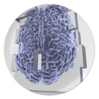 Conceptual computer artwork of building blocks plate