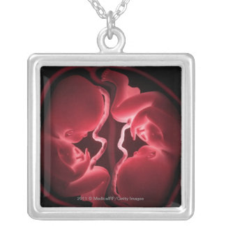 Conceptual image of a womb containing twins silver plated necklace