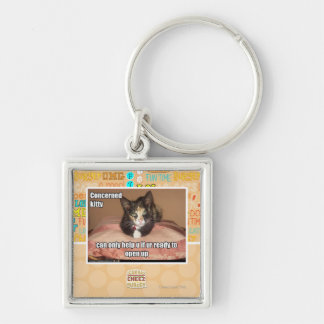 Concerned Kitty Silver-Colored Square Key Ring
