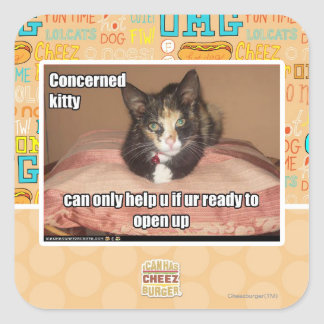 Concerned Kitty Square Sticker