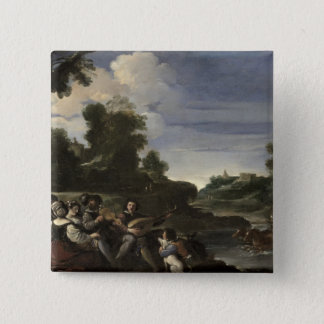 Concert Champetre, 1617 (oil on panel) 15 Cm Square Badge