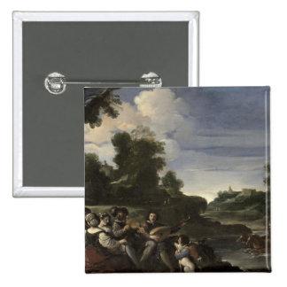 Concert Champetre, 1617 (oil on panel) 15 Cm Square Badge