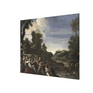 Concert Champetre, 1617 (oil on panel) Canvas Print
