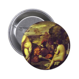 Concert Champetre by Titian 6 Cm Round Badge