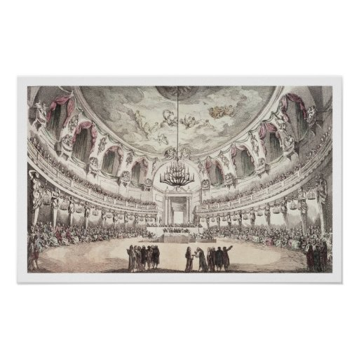 Concert Hall in Venice, 18th century (coloured eng Poster
