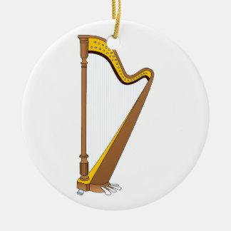 Concert Pedal Harp Graphic Design Round Ceramic Decoration