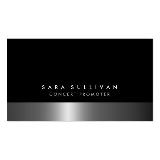 Concert Promoter Bold Dark Chrome Business Card Business Card Template