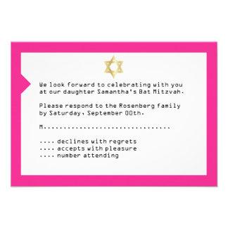 Concert Ticket Bat Mitzvah Reply Card in Pink Custom Invite