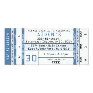 Concert Ticket Invitation Blue