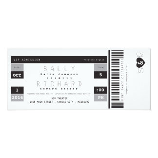 Concert Ticket Invitation in Black White and Gray