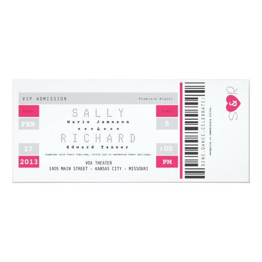 Concert Ticket Invitation in Hot Pink